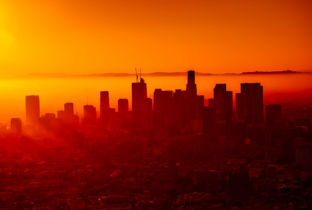 los angeles skyline at sunset -building code