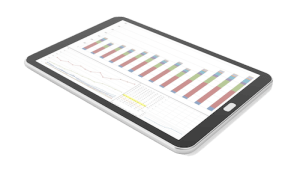 ipad with graphs on screen