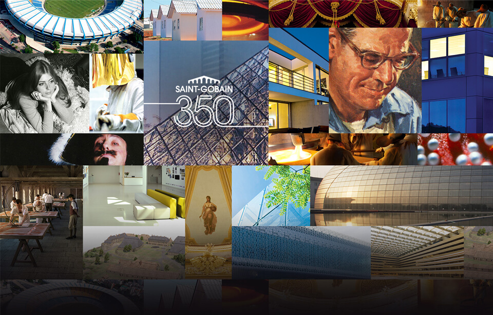 collage of Saint-Gobain virtual expo celebrating 350 years