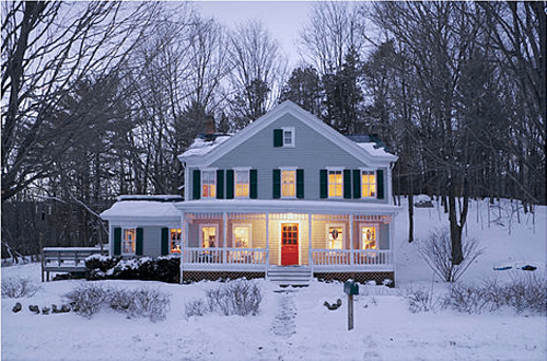 large country home in the winter