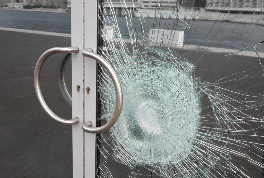 broken glass on door