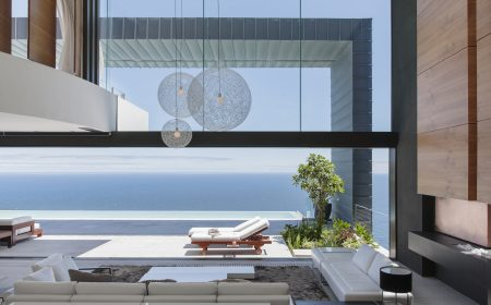 Modern house overlooking ocean